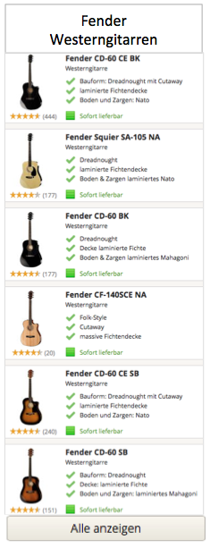 Fender Westerngitarren