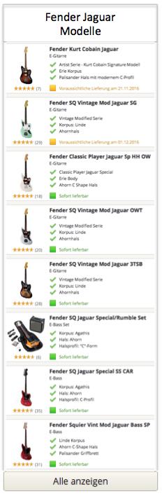 Fender Jaguar Modelle