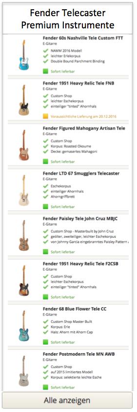 Fender Telecaster Premium Modelle