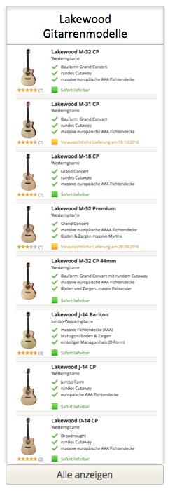 Lakewood Gitarren Modelle