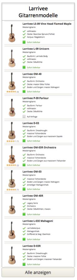 Larrivee Gitarrenmodelle
