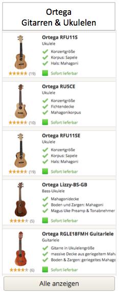 Ortega Gitarren und Ukulelen