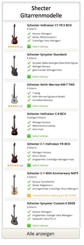Shecter Gitarren Modelle