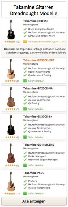 Top Takamine Dreadnought Modelle