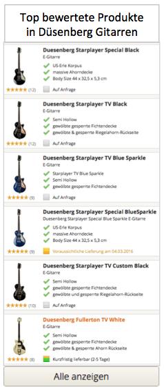 Top bewertete Düsenberg Gitarren