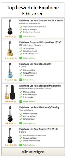 Top Epiphone E-Gitarren