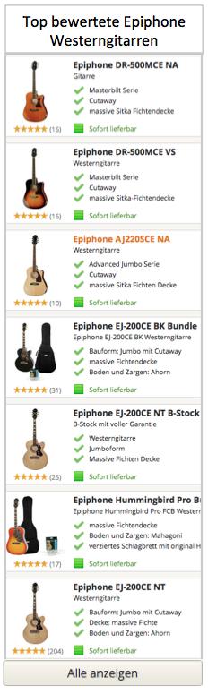 Top Epiphone Westerngitarren