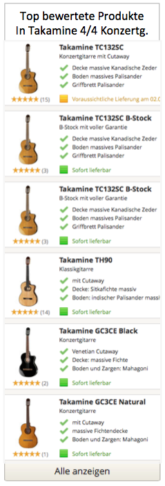 Top Takamine 4/4 Konzertgitarren Modelle
