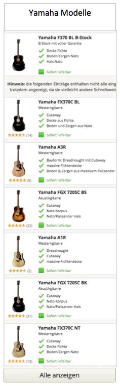 Yamaha Modelle