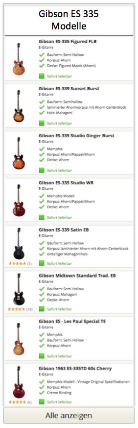 Gibson ES 335 Gitarren Modelle