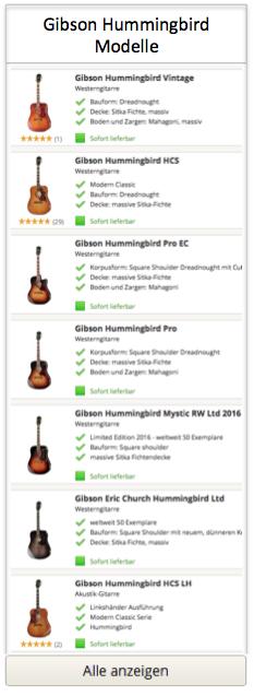Gibson Hummingbird Gitarren