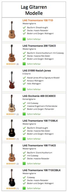 Lag Gitarren Modelle