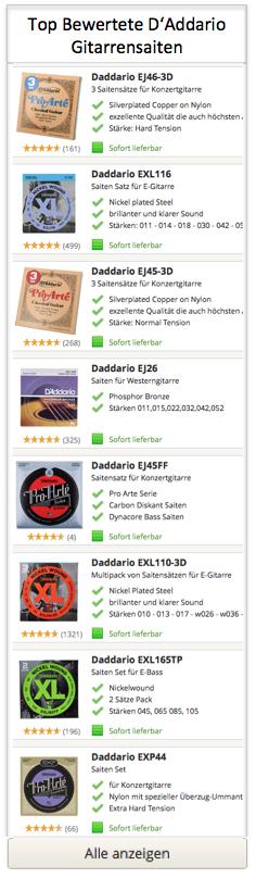 Top bewertete D'Addario Gitarrensaiten
