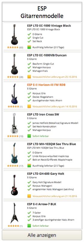 ESP Gitarrenmodelle