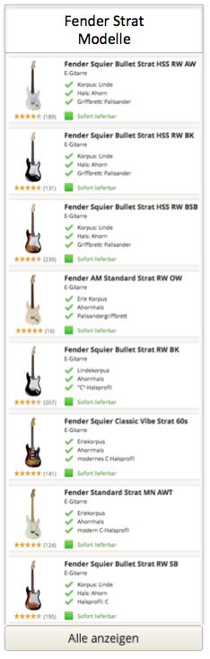 Fender Strat Gitarren