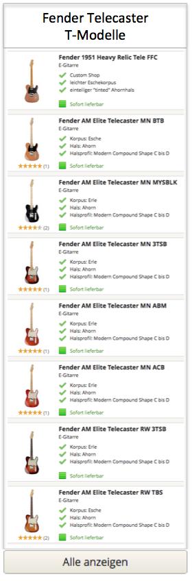 Fender Telecaster T-Modelle