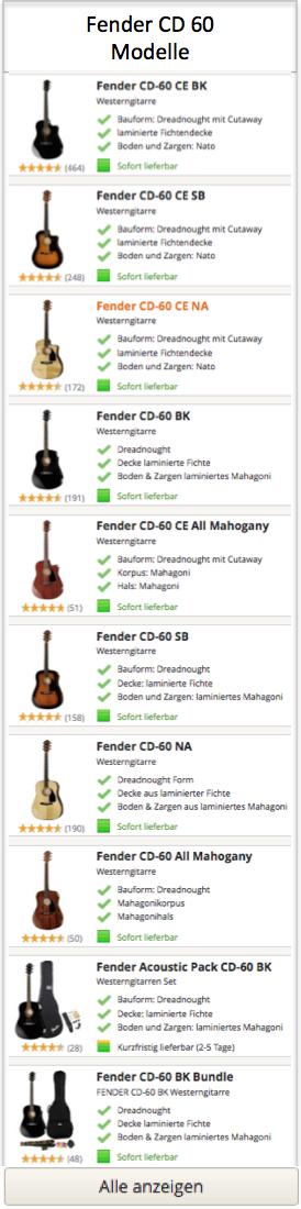 Fender CD 60 Gitarren Modelle
