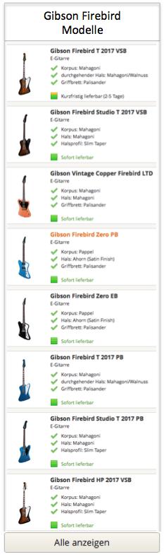 Gibson Firebird Modelle