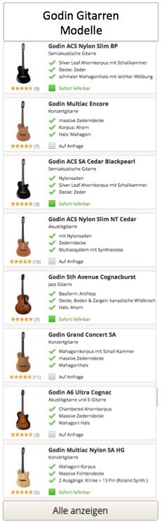 Godin Gitarren Modelle