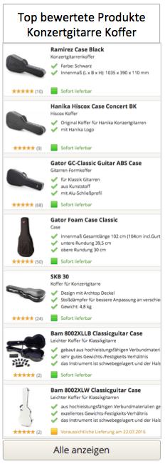 Konzertgitarre Gitarrenkoffer