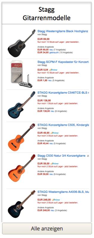 Stagg Gitarrenmodelle