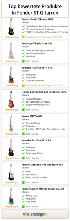 Top Fender Gitarren