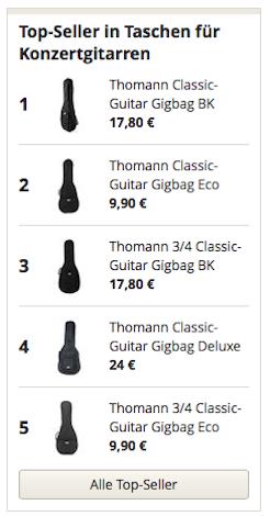 Topseller in Taschen für Konzertgitarren