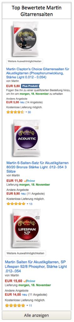Top bewertete Martin Gitarrensaiten