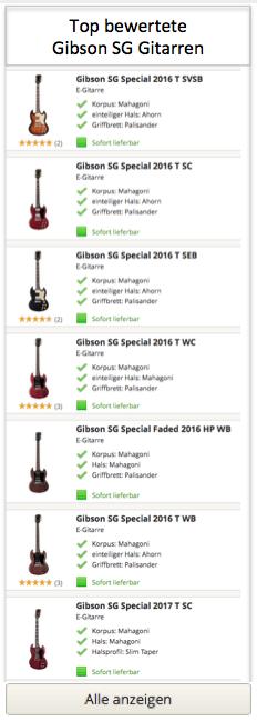 Top bewertete Gibson SG Gitarren