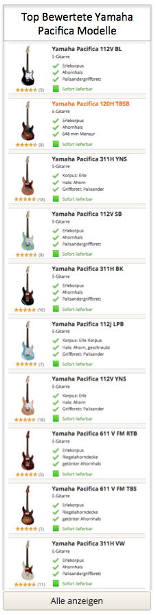 Top Yamaha Pacifica Modelle
