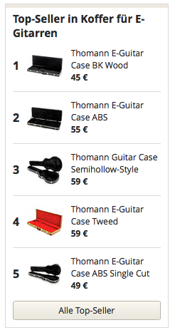 Topseller in Koffer E-Gitarren