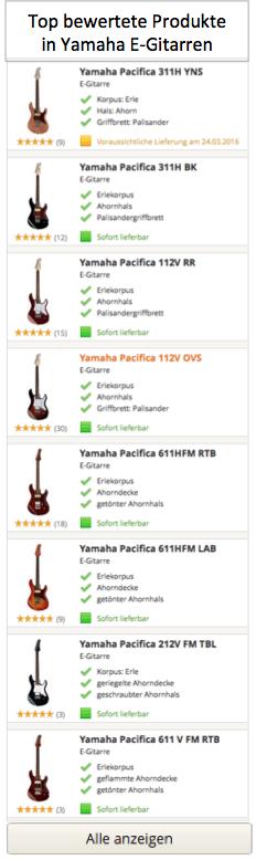 Top Produkte in Yamaha E-Gitarren