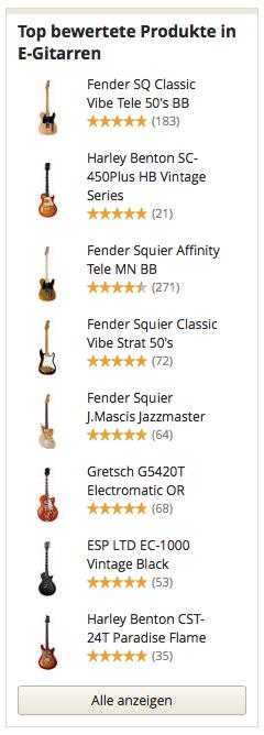 Top bewertete Produkte in E-Gitarren