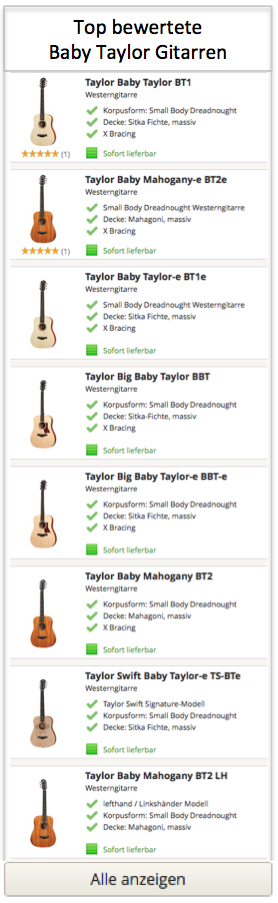 Top bewertete Baby Taylor Gitarren